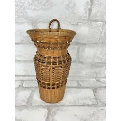 Hanging Basket Small Woven for Artificial Florals Country Wall Decorating 8