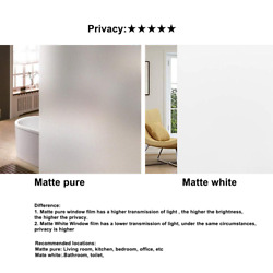 Rabbitgoo Privacy Window Film Frosted Non-adhesive Glass Film for Bathroom