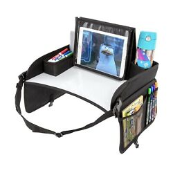 Lusso Gear Kids Travel Tray Eating Snack Tray, No-Drop Tablet iPad Holder Stand