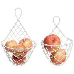 White Woven Metal Wire Wall-Mounted Hanging Produce Fruit Baskets Racks,Set of 2