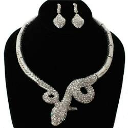 SILVER SNAKE NECKLACE SET CLEAR STONES ( 010 3CL )