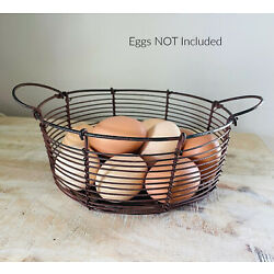 New Country Primitive Farmhouse RUSTY WIRE EGG BASKET With Handles