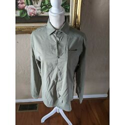 All in Motion Men's Long Sleeve Snap Front Travel Shirt Green Sz Large TG1