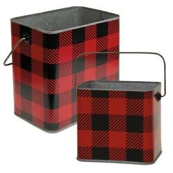 New Farmhouse SET 2 RED BLACK BUFFALO CHECK BUCKET Metal Basket Container