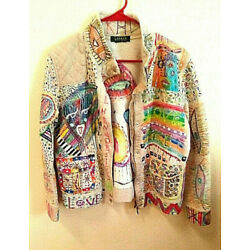 Upcycled top JACKET Cothing Hand painted cotton boho BEIGE purple