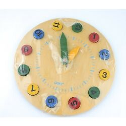 Kids Learning Clock Round  Wooden12 Pieces Time Number Blocks Puzzle Toddler +