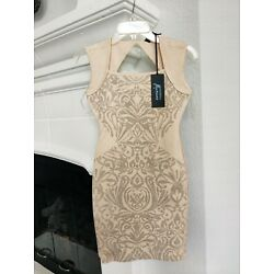 GUESS by Marciano Dress sz S Metallic Pattern New with tags $228 Zara Beige Gold