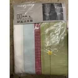 2 IKEA FLOWER DOTS Stripe Fabler Bard EMBROIDER PANEL  47 x 118 New