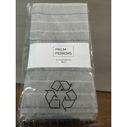 Palm + Perkins Upcycled Napkin Set ~ 4 Blue Napkins ~ Recycled Cotton & Poly