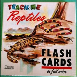 Vintage Teach-Me Reptiles Flash Cards - 48 Full Color Cards - 1968