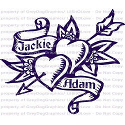 Custom Double Heart & Flowers Tattoo Vinyl Decal - YOUR NAMES Sticker Ink Tat