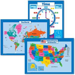 USA & World Map + Learning to Tell Time, MADE IN USA 3 Posters 18X24 Laminated