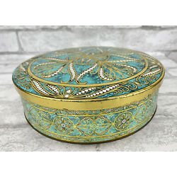 Vintage Daher Container Round Embossed Gold Aqua White Design W/ Lid England 8''