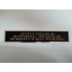 Justin Fields Chicago Bears Nameplate For A Football Display Case 1.5'' X 6''