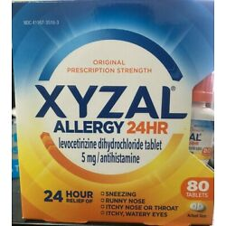 XYZAL Allergy 24hr Relief Tablets 80 Count Exp:2023