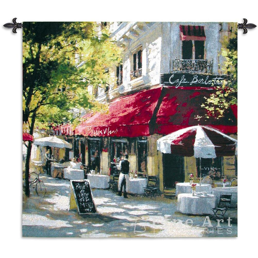 Maltina terrace tapestry wall hanging cafe city scene ebay for Wall scenes