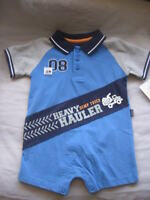 Carter's Go Anywhere 1Pc. POLO Romper*Boy 12 Mos*NWT