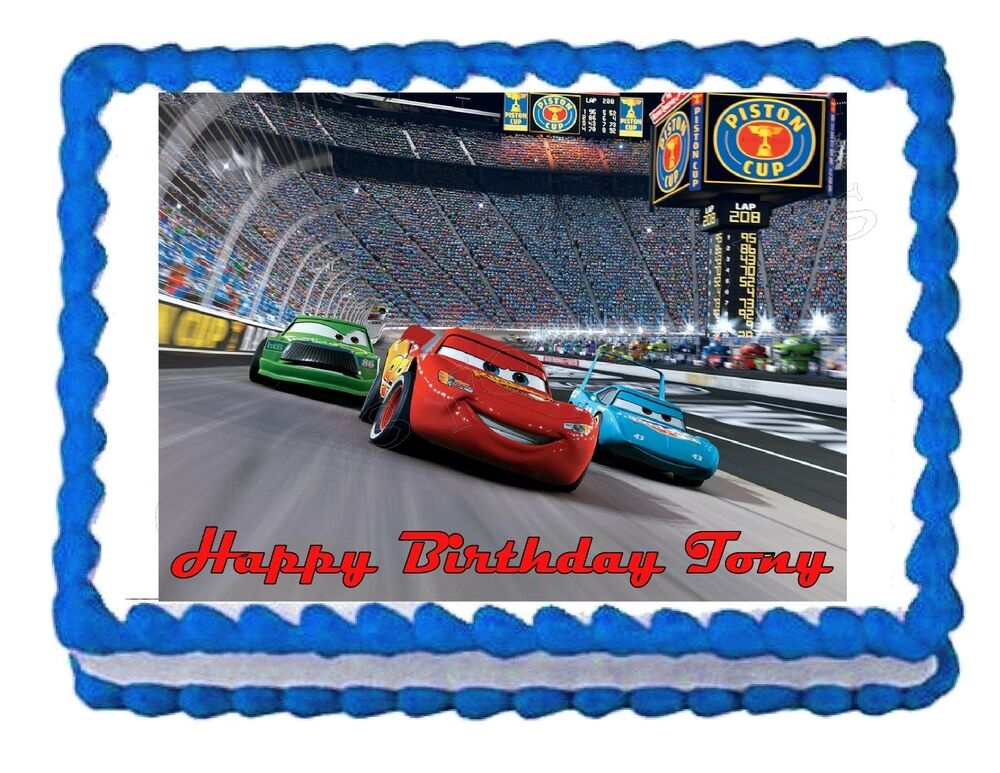Edible Cake Decorations Cars : Lightning McQueen Cars edible cake image cake topper eBay