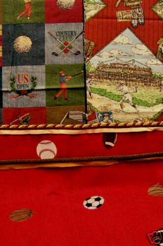 Sports Themed Quilt Patterns : CRAFT QUILT LOT OF SPORTS THEMED FABRIC WITH TRIM BASEBALL FOOTBALL CR 128 eBay