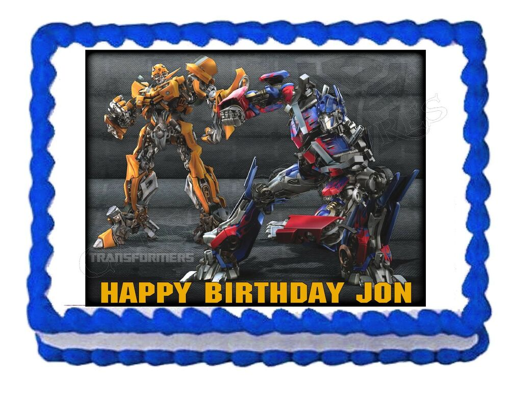 Transformers Cake Decorations Uk : TRANSFORMERS BUMBLEBEE OPTIMUS PRIME edible cake image ...
