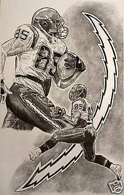 San Diego Chargers Antonio Gates Art Sketch Drawing