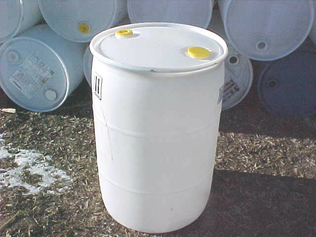 55 Gallon Barrel Drum Plastic Fuel Watering Rain White