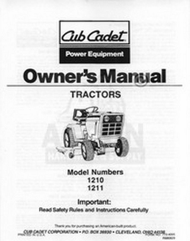 ih cub cadet model 1210 1211 owners operators manual ebay. Black Bedroom Furniture Sets. Home Design Ideas