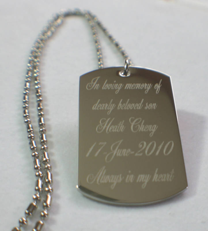 Memorial dog tag necklace custom personalize stainless for Do pawn shops buy stainless steel jewelry
