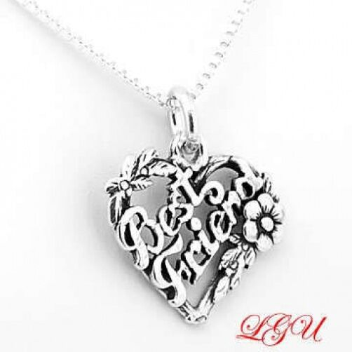 silver best friend charm with 18 quot box chain necklace ebay
