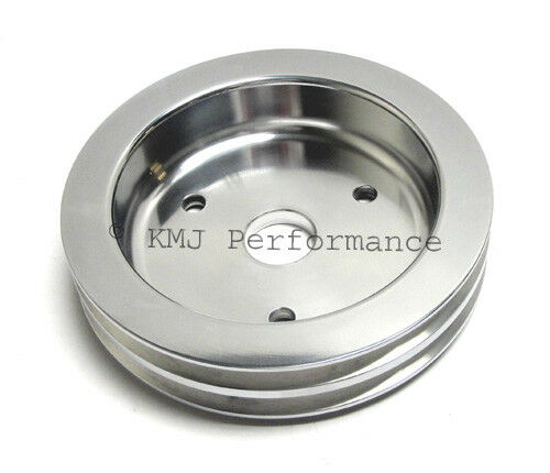 SBC Chevy 2V 2 Groove Billet Aluminum Crank Pulley Long