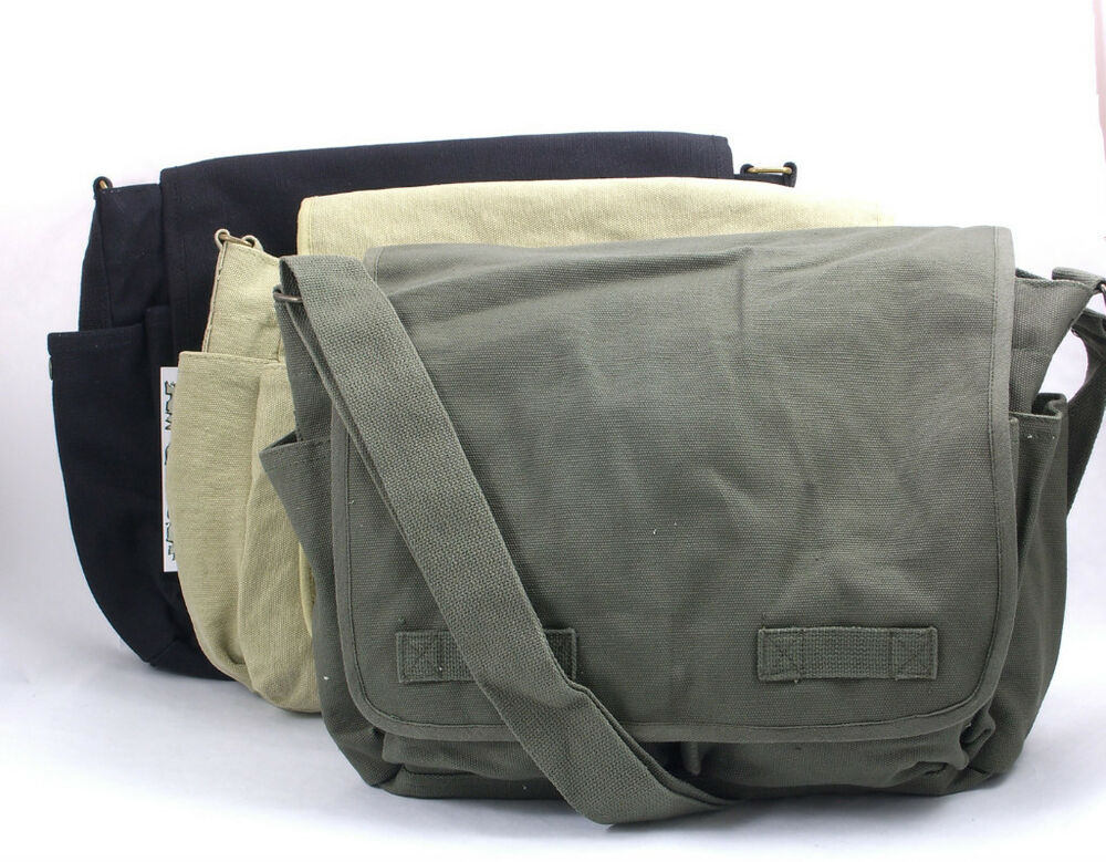 jack bauer canvas messenger bag black olive khaki nwt ebay