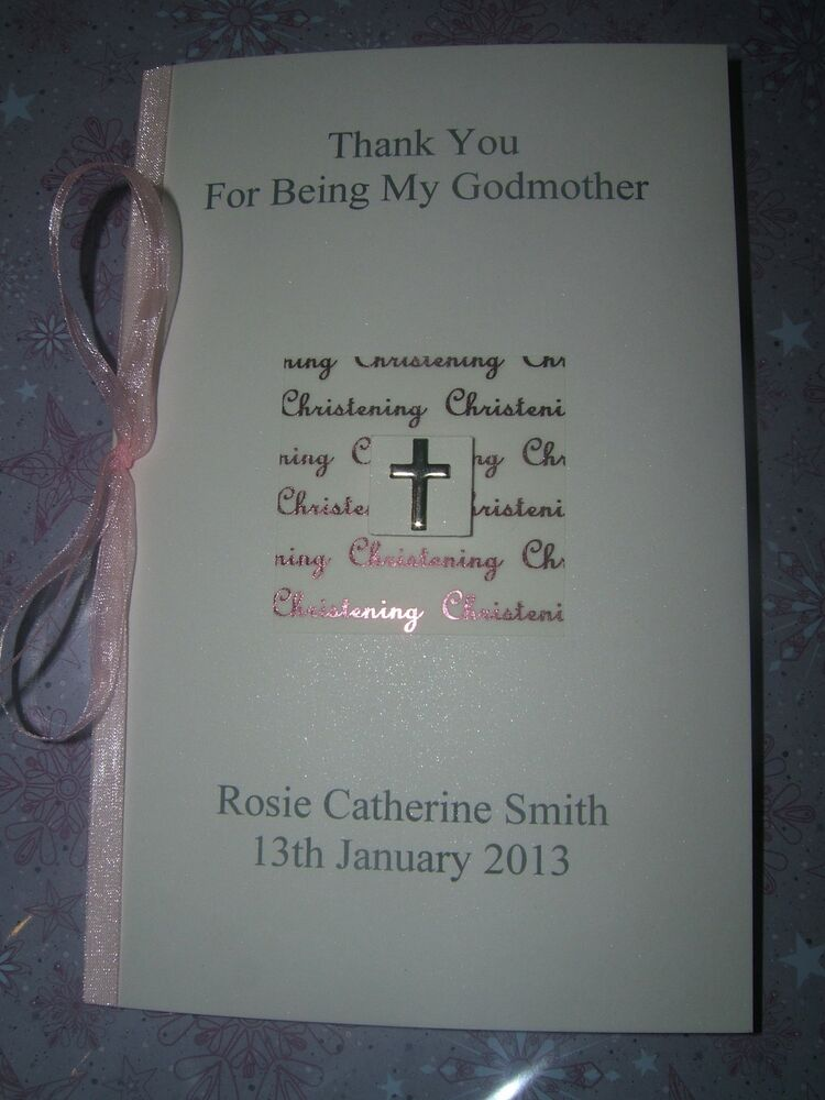 Personalised Thank You Godparents Christening card Girl