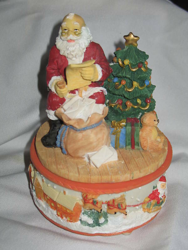 Christmas santa claus musical figurine the first noel ebay