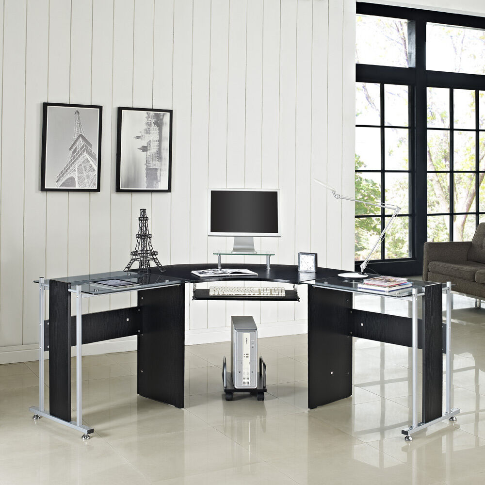 glass computer desk pc table home office furniture black new laptop