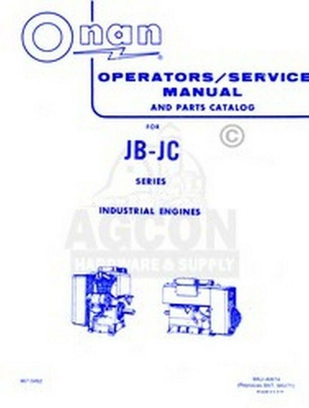 Onan Engine Parts Catalog : Onan jb jc industrial operators parts service manual ebay