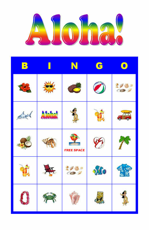 luau party games aloha tropical luau birthday bingo cards ebay 30761