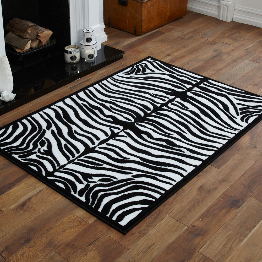 NEW LARGE WILDLIFE ZEBRA ANIMAL PRINT BLACK WHITE STRIPE RUG 160X230CM EBay