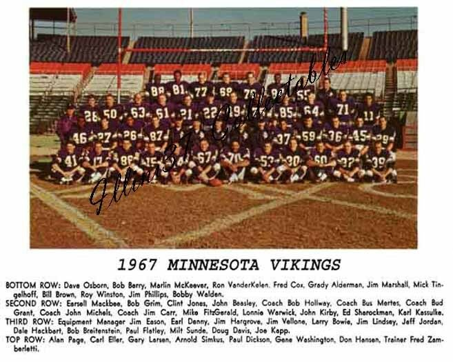 1967 Minnesota Vikings Nfl Football Team 8x10 Photo Ebay