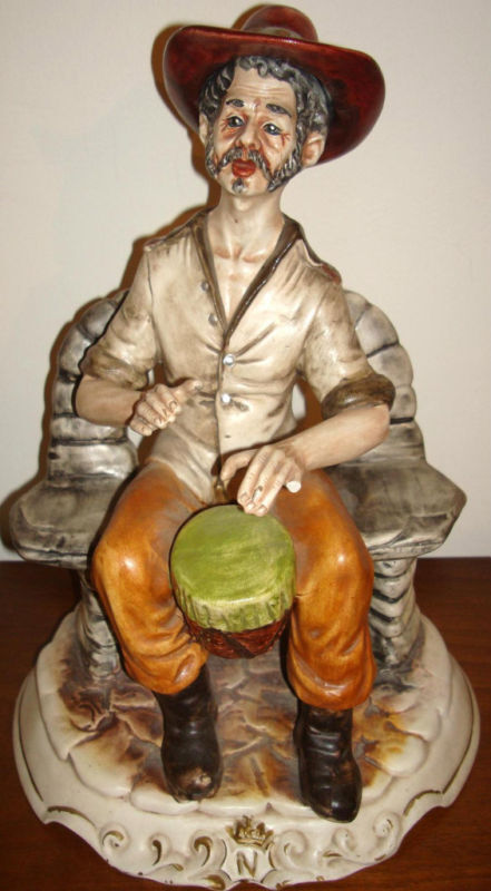 vintage capodimonte figurine statue man playing drums ebay