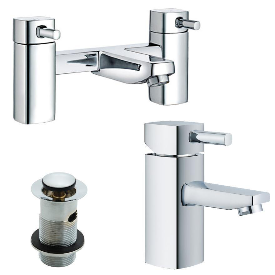 Bath And Basin Mixer Taps Set Polished Chrome Modern ...