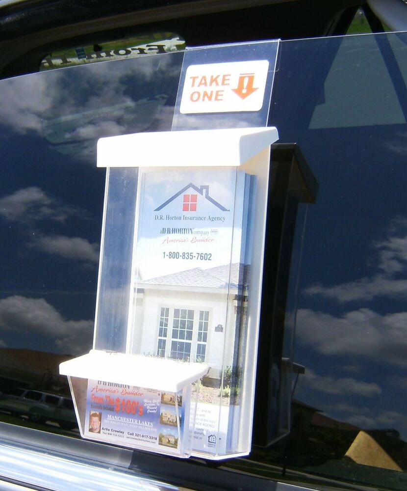 Auto outdoor brochure business card holders realtors ebay for Flyer and business card holder