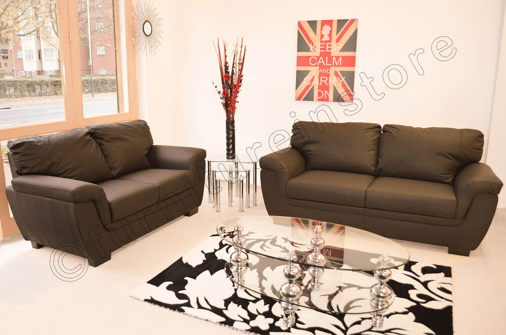 Lazar brown faux leather 3 2 piece sofa suite seater ebay for Furniture 3 piece suites