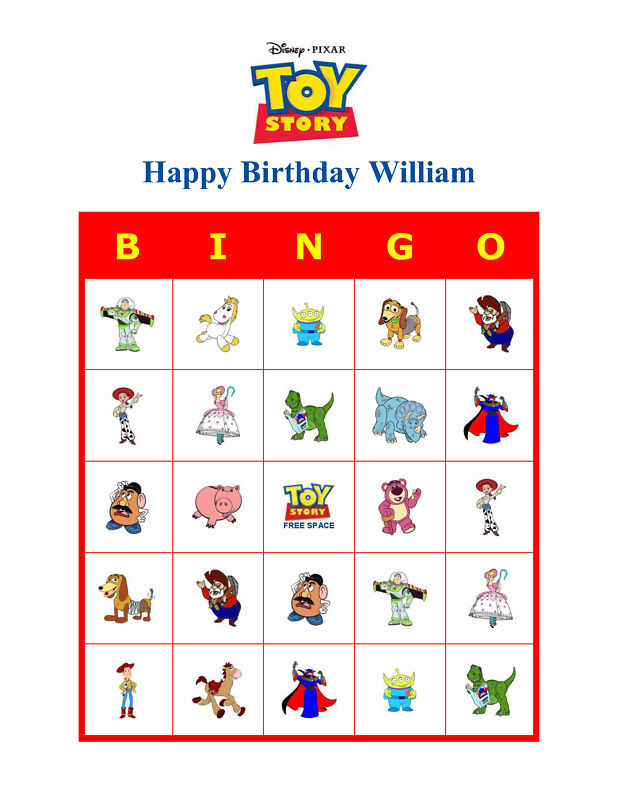 Toy Story Birthday Games : Toy story cartoon birthday party game bingo cards ebay
