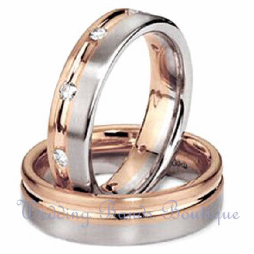 14k white pink gold his hers matching wedding bands