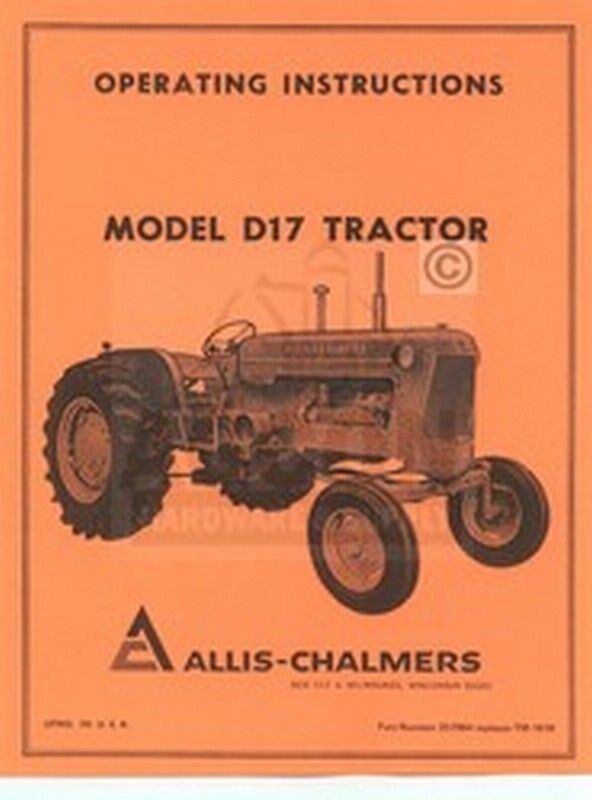 Ac Tractor Parts : Allis chalmers d gas tractor owners manual ebay