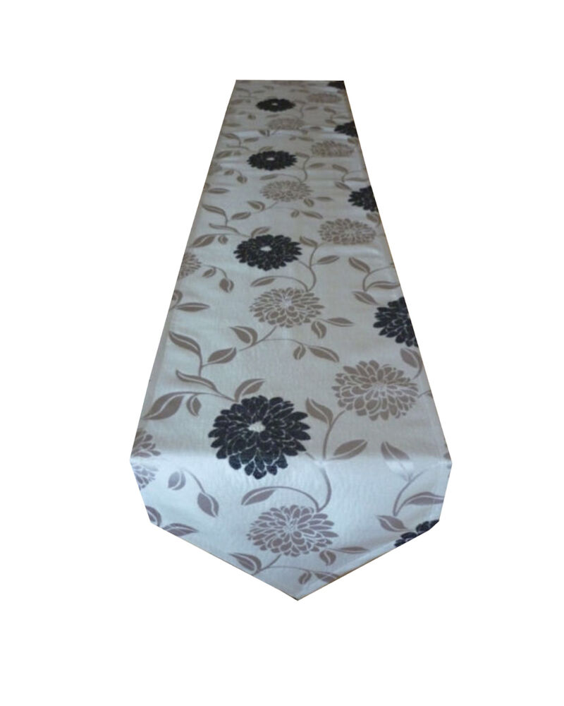silver grey table runner bed throw small black flower. Black Bedroom Furniture Sets. Home Design Ideas