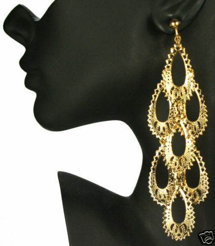 large clipon earrings clip on 5 quot gold plated big chandelier earrings ebay 4975