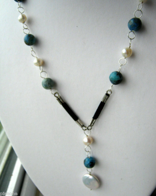 White Pearl Amp Blue Larimar Leather 925 Silver Necklace Ebay