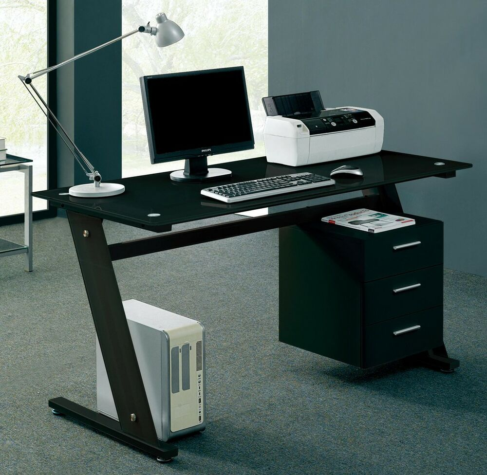 Computer Desk PC Table Office Furniture Black Glass Home Work Station