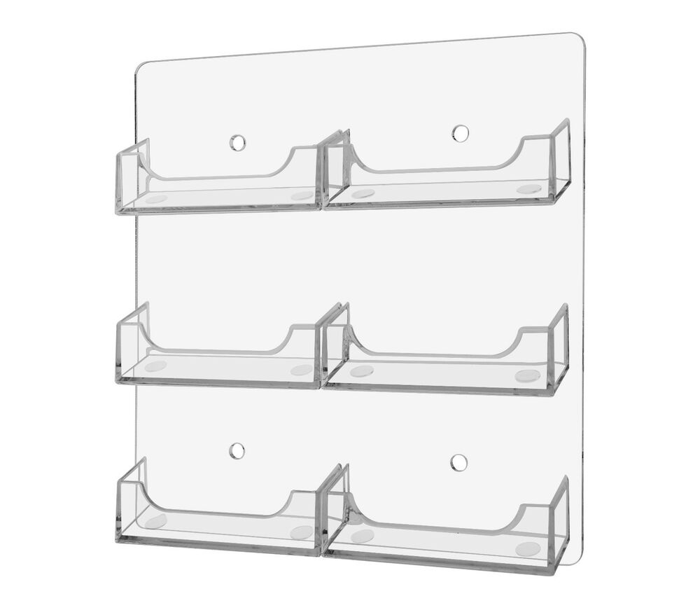 Clear 6 pocket wall mount business card holder rack for Business card holder wall mount